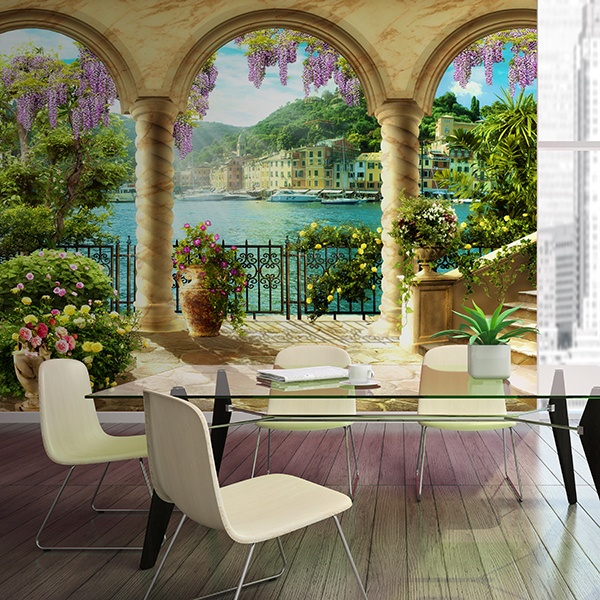 Wall Murals: Columns lakeside patio