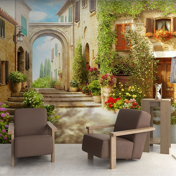 Wall Murals: Rustic village with stone arch