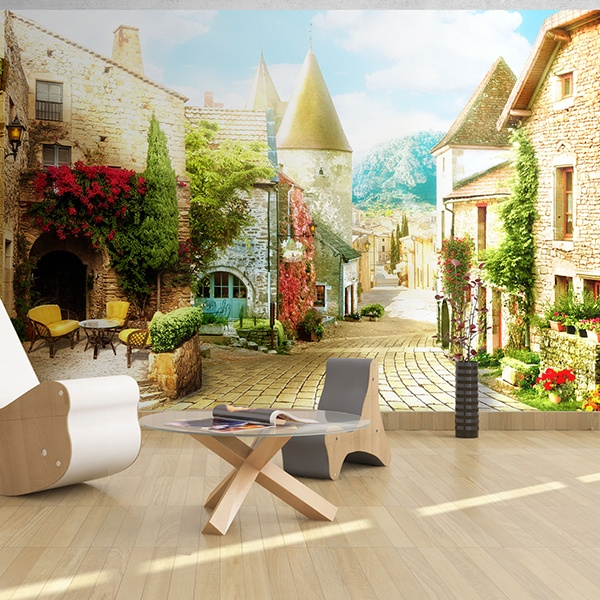 Wall Murals: Village street with charm