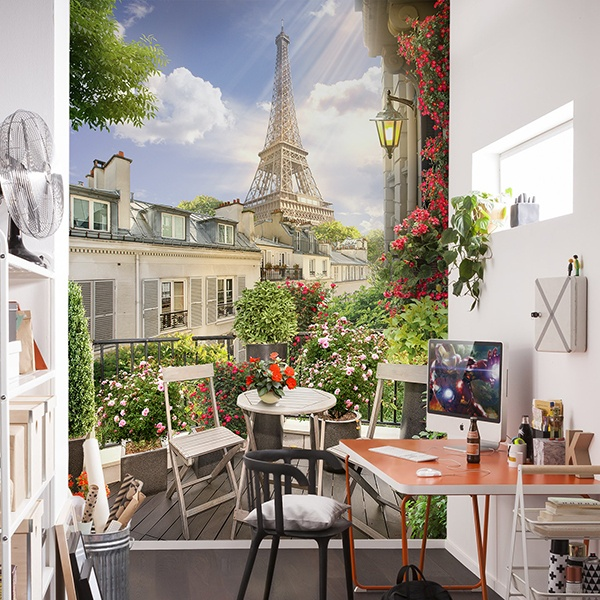 Wall Murals: Terrace in front of the Eiffel tower