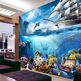 Wall Murals: Dolphin marine background 2