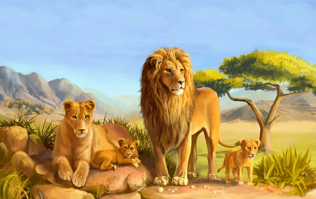 Wall Murals: Family lions