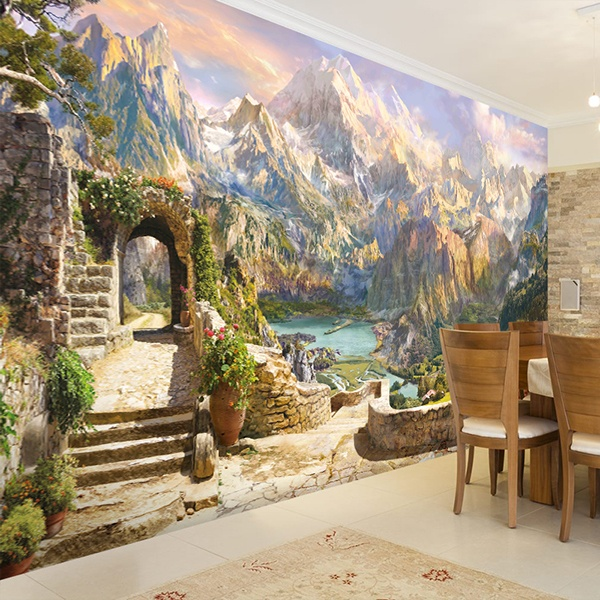 Wall Murals: The mountains of the lake