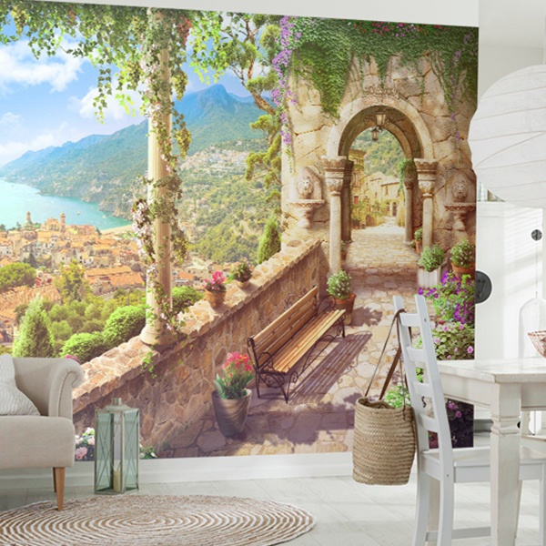 Wall Murals: Viewpoint coastal village