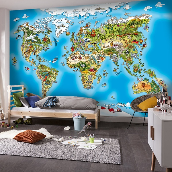 Wall Murals: Illustrated children's world map