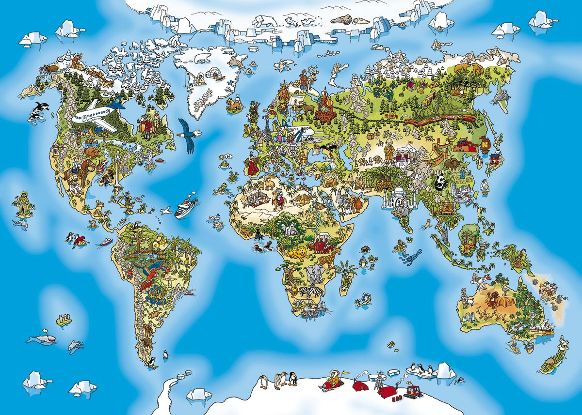 Wall mural Illustrated children's world map   MuralDecal.com on