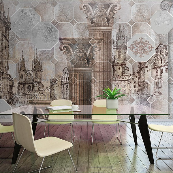 Wall Murals: European Old Town Collage