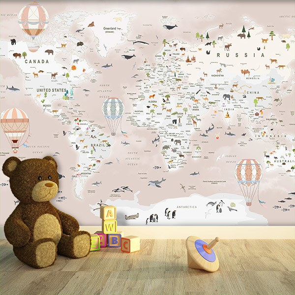 Wall Murals: World Map with Animals