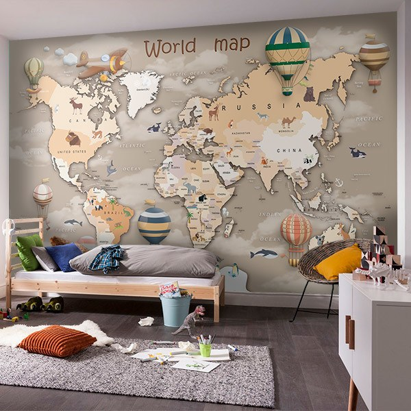 Wall Murals: World Map for Children