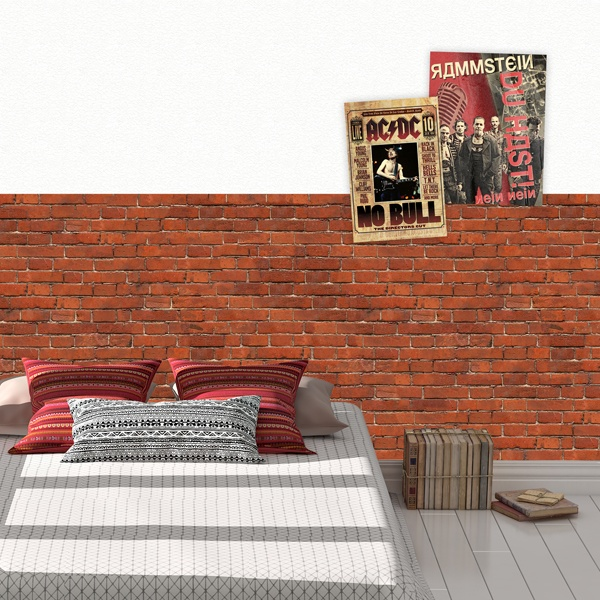 Wall Murals: Rustic red brick texture