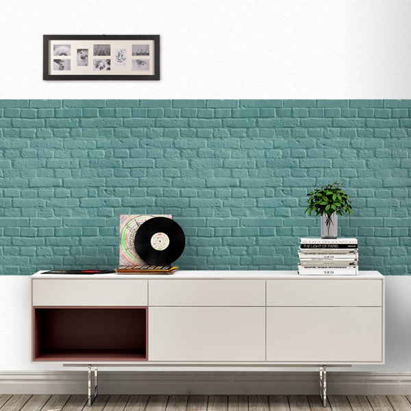 Wall Murals: Turquoise brick texture