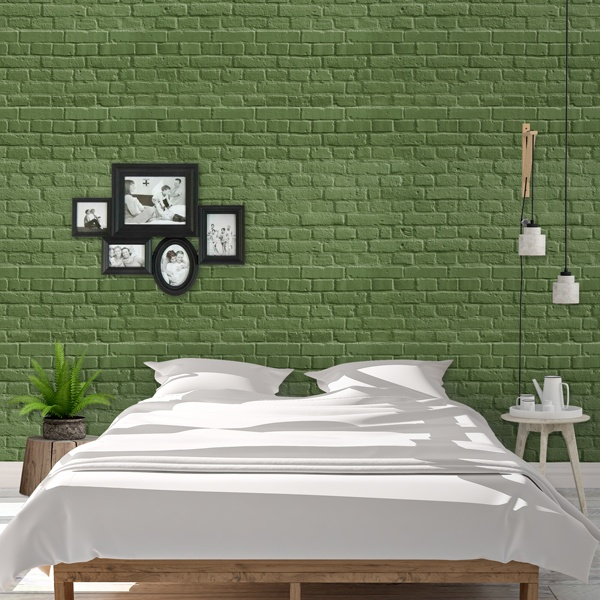 Wall Murals: Green brick texture 0