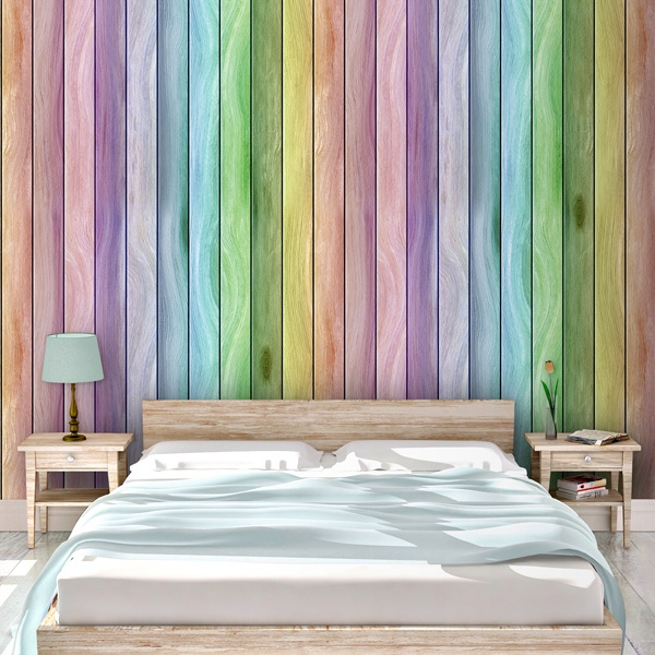 Wall Murals: Rainbow wood texture