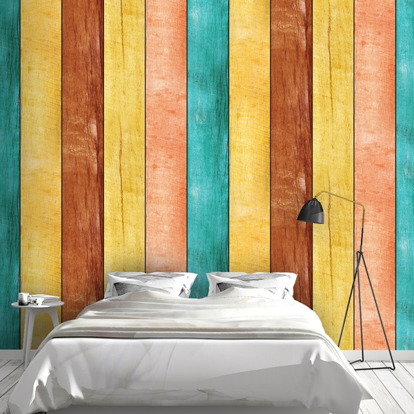 Wall Murals: Multicolored wood texture