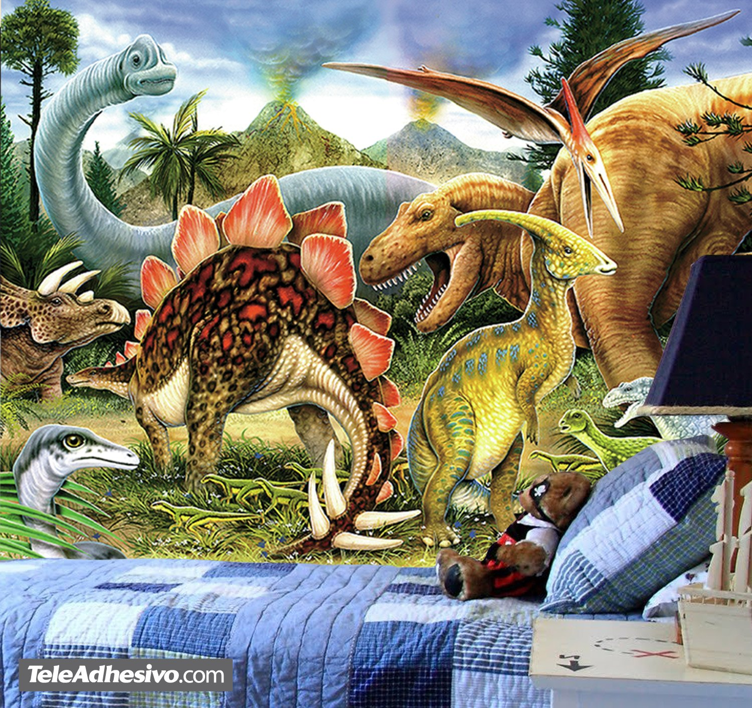 Dinosaur Wall Mural. The dinosaurs dominated terrestrial ecosystems ...
