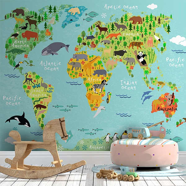 Wall Murals: World map children's continents and animals