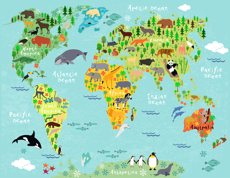 Kids Wall Sticker World Map Children S Continents And