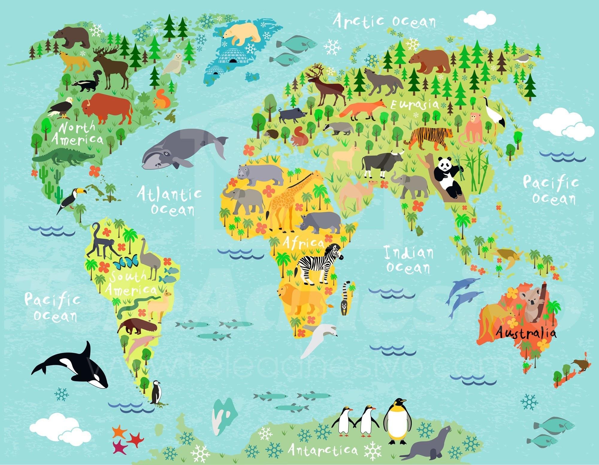 Children 39 s world map 2 - Mural de fotos ...