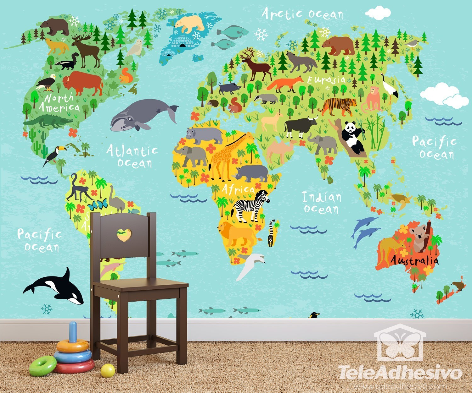 Kids Wall Sticker World Map Children S Continents And Animals