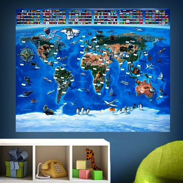 Wall Murals: World map for children Flags