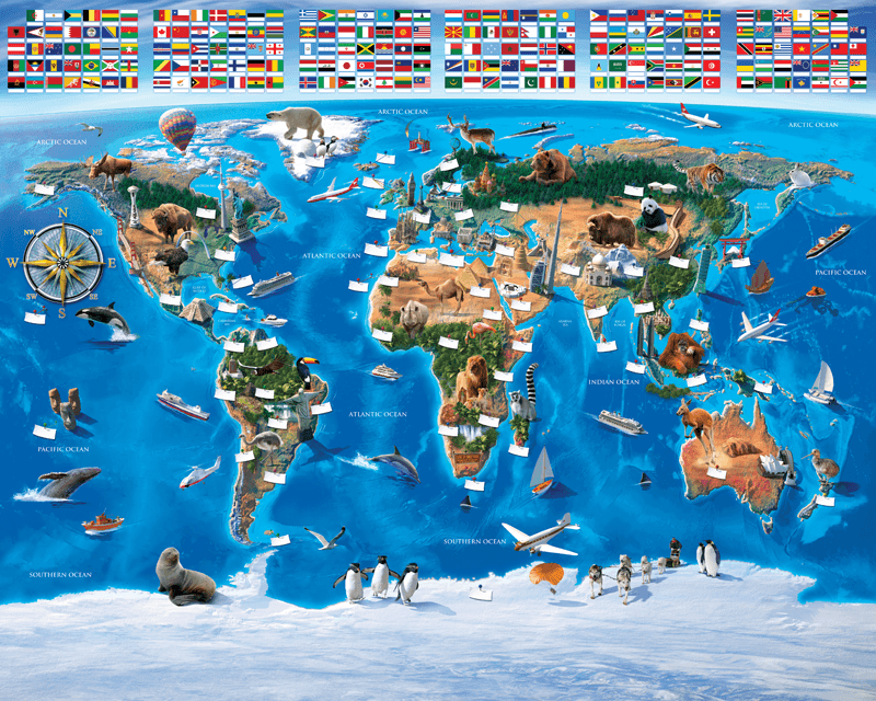Childrens world map flags wall murals childrens world map flags gumiabroncs Image collections