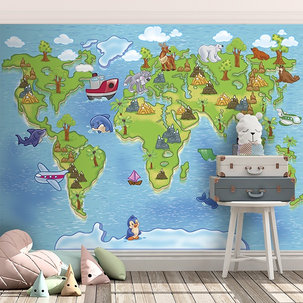 Wall Murals: Children's World Map 3