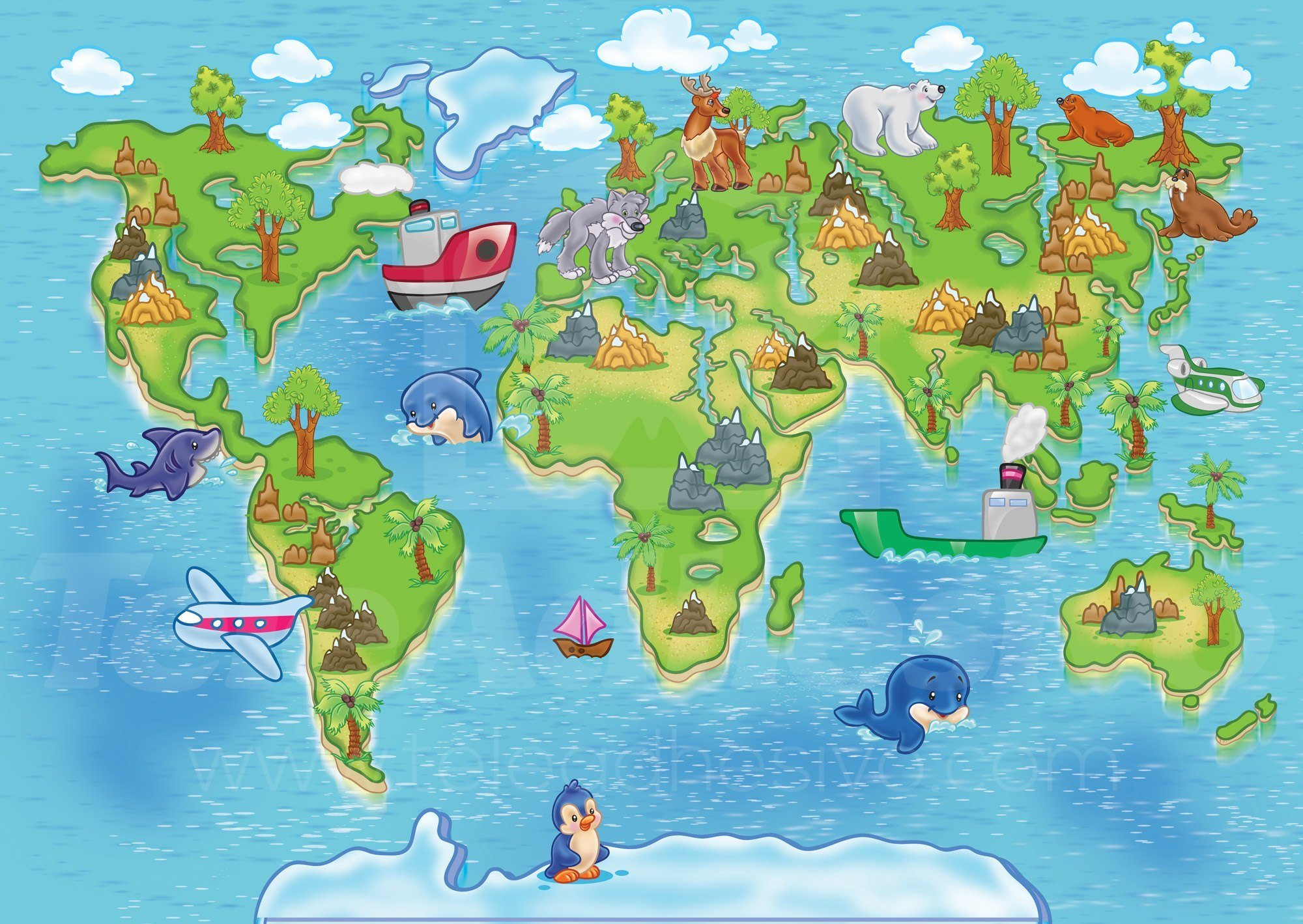 Wall Murals: Animal world map animals