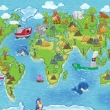 Wall Murals: Animal world map animals 2