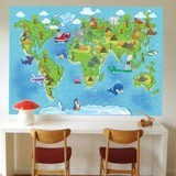 Wall Murals: Animal world map animals 3