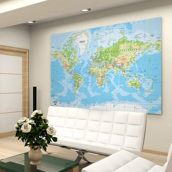 Wall Murals: Physical World Map