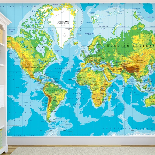 Wall Murals: World Map Relief