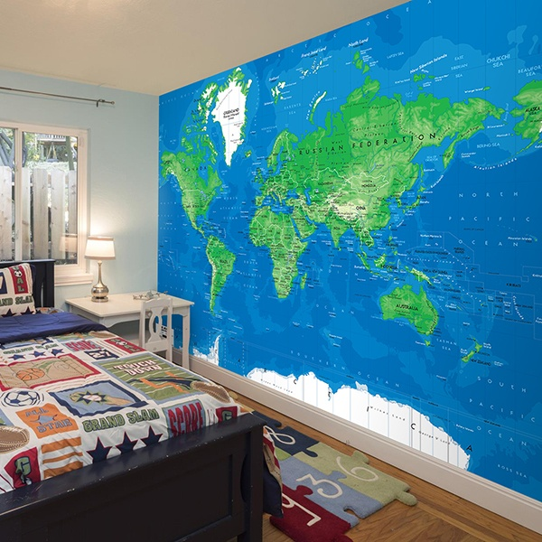 Wall Murals: World Map blue and green