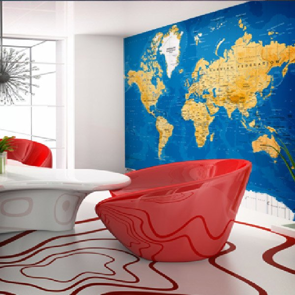Wall Murals: World Map arid tone
