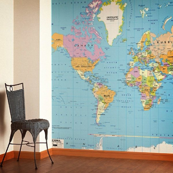 Wall Murals: Political World Map