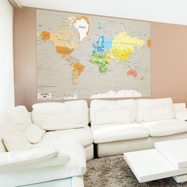 Wall Murals: Political World Map Continents