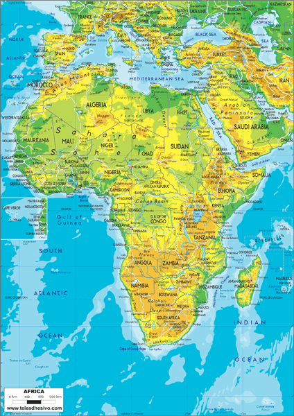 Wall Murals: Africa map of the land relief