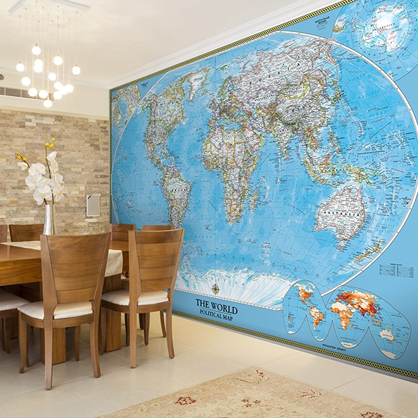Wall Murals: World political world map