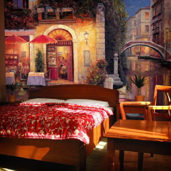 Wall Murals: Cafe at night after it rains, Haixia Liu