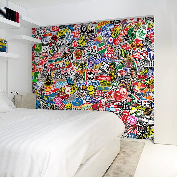 Wall Murals: StickerBomb mural