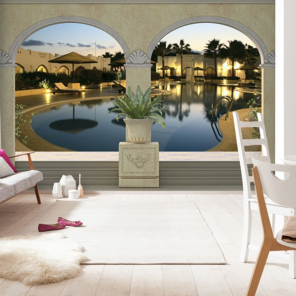 Wall Murals: Swimming pool in luxury hotel