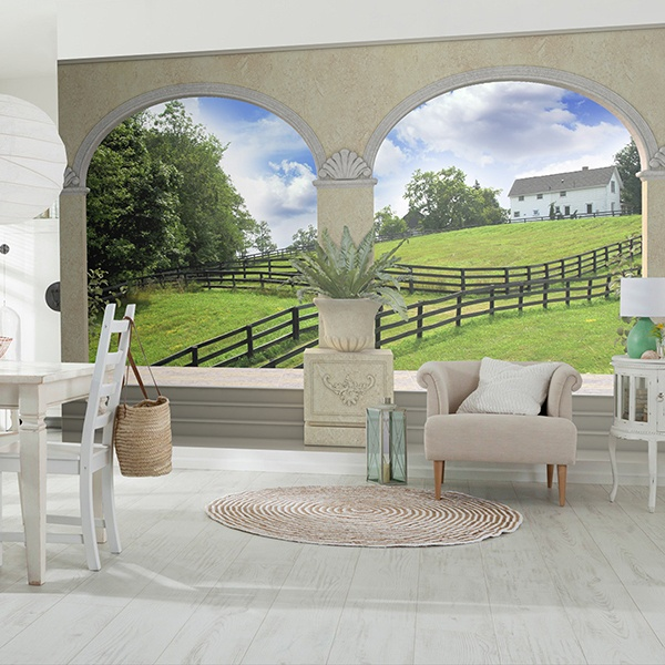 Wall Murals: Green meadow and farmhouse 0