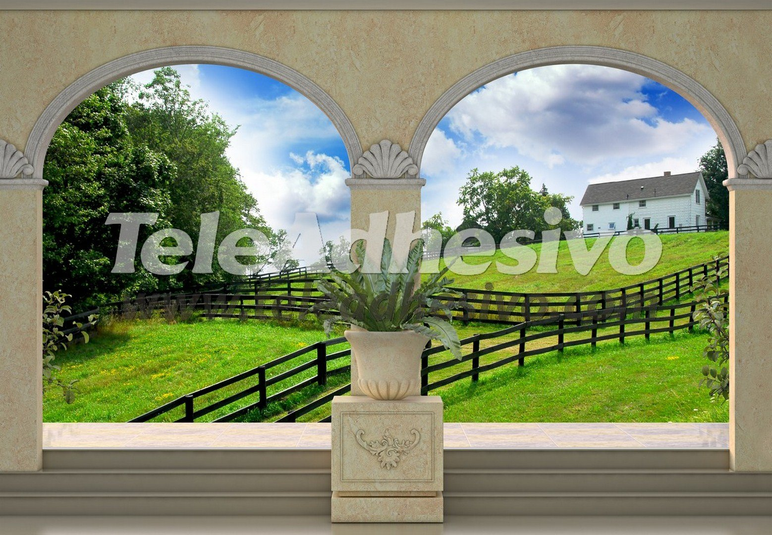 Wall Murals: Green meadow and farmhouse