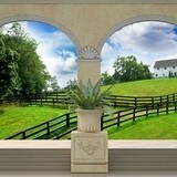 Wall Murals: Green meadow and farmhouse 3