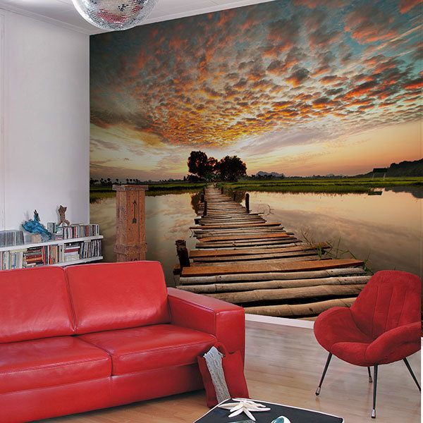 Wall Murals: Bridge on the lake
