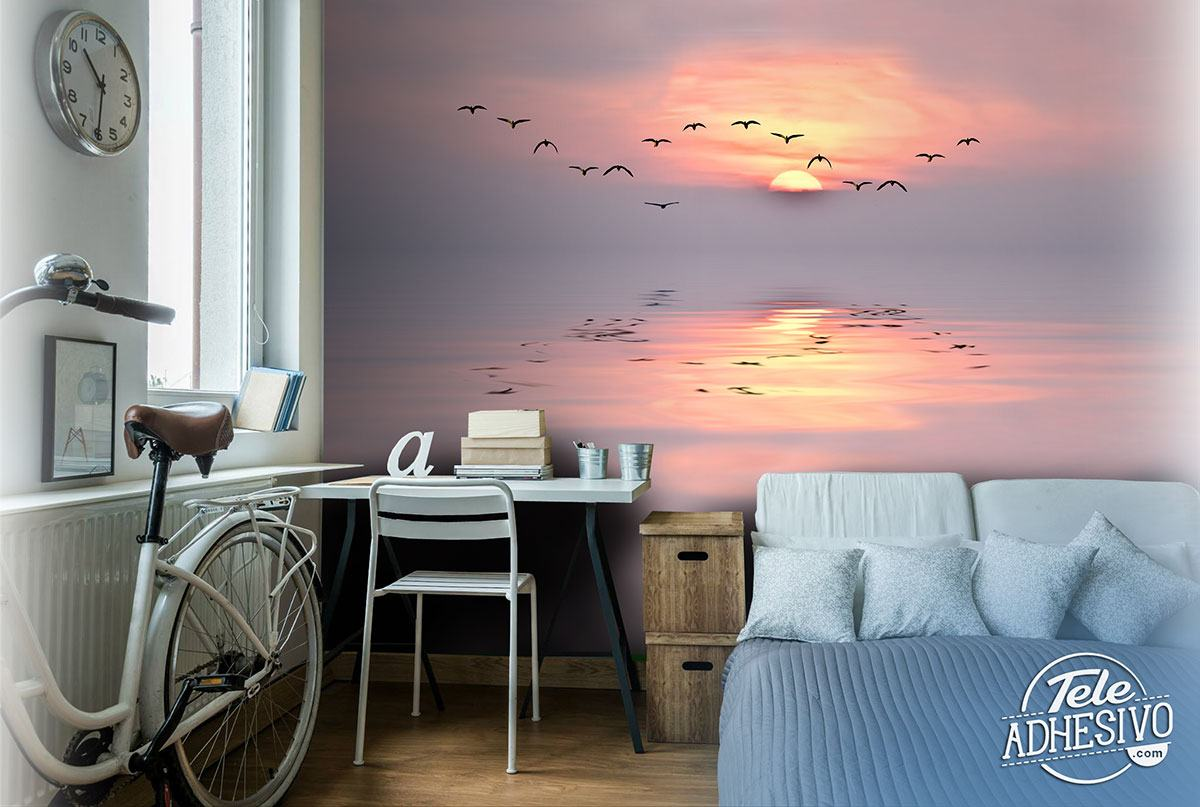 Wall Murals: Sunset among seagulls