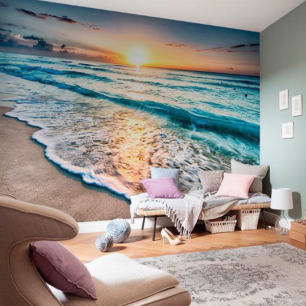 Wall Murals: Soft waves at dusk 0