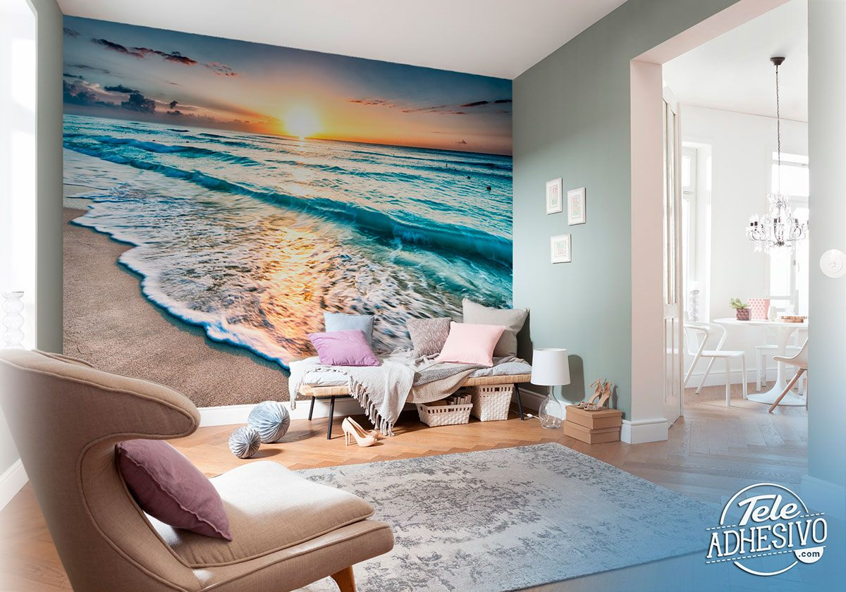 Wall Murals: Soft waves at dusk