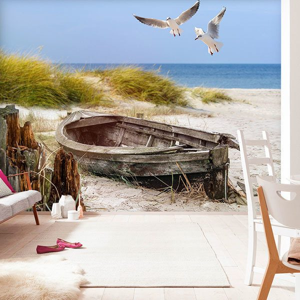Wall Murals: Ancient boat on the sand 0