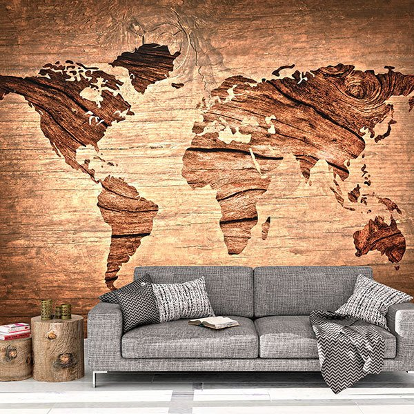 Wall Murals: Wooden world map