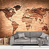 Wall Murals: Wooden world map 2